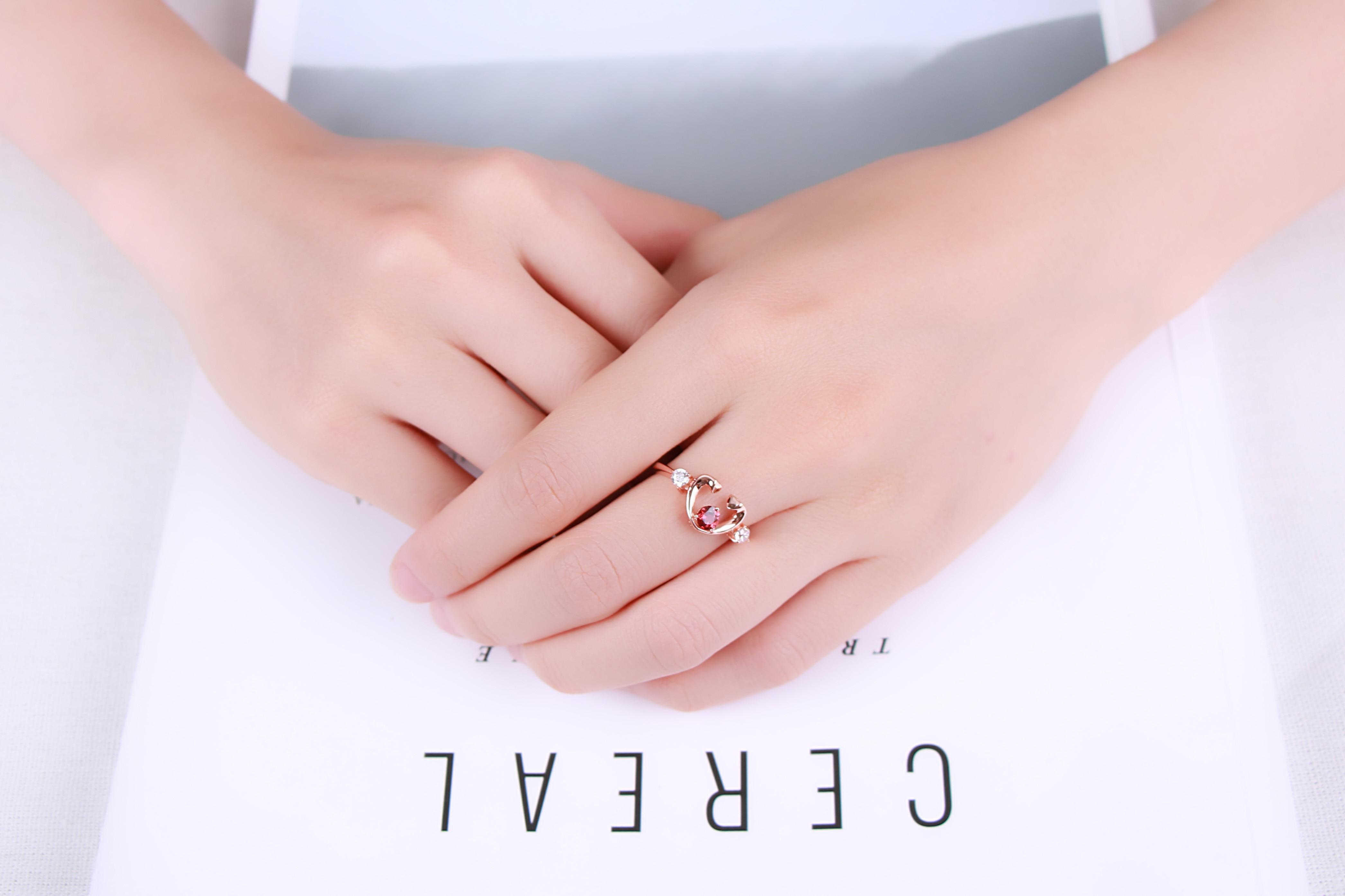 MoBuy MBRI033 Unique Love Heart Gemstone Garnet Ring 925 Sterling ...