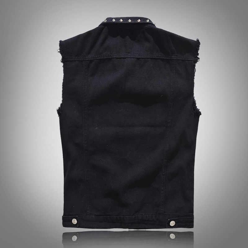 Большой размеры 5XL Chubby классический мужской джинсовый жилет новый без рукавов, приталенная джинсовая куртка вязаные жилеты для женщин черный жилет для мужчин металлические