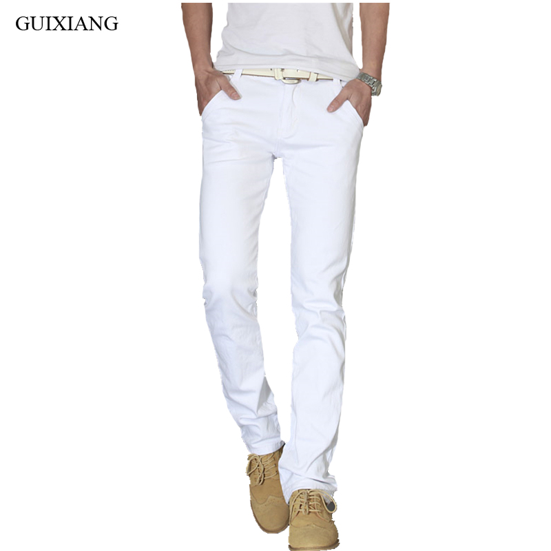 New style men leisure long denim jeans fashion casual solid solid zippers trousers men's slim straight white pants size 28-36