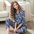 2017 Novas mulheres de verão Conjuntos pijamas de algodão moda calças seção Fina impressão tricô nightclothes
