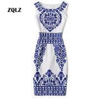 Zqlz Bleu Et Blanc Porcelaine Imprimer Slim Pencil Femmes Robe Dames de bureau Work Wear Col Rond Robe D'été Dames De Mode robe
