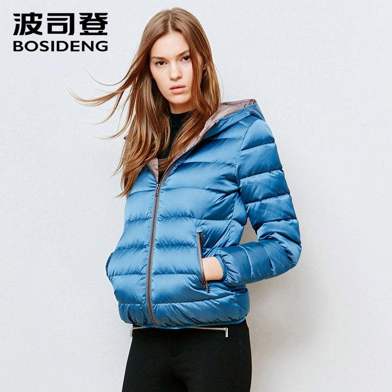 BOSIDENG 2017 women   down     coat   winter hoodie   down   jacket short outwear high quality thick warm B1501090