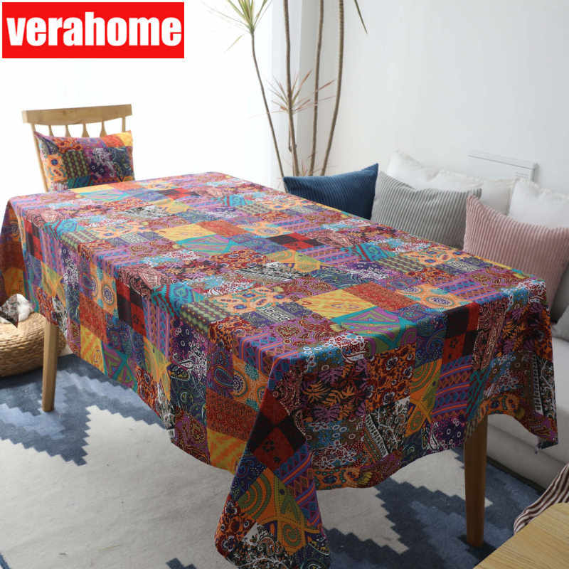 Bohemian linen tablecloth table cover background Kitchen dining party Rectangular outdoor patio set