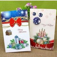 8 Pçs/set 20.5*13.5 Handmade Cartões de Saudação Cartão de Aniversário Dos Miúdos Dos Desenhos Animados Dos Cervos Do Natal Presente Da Decoração Do Natal Cartões