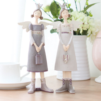 2PCS/SET American Rural Resin Angel Figurines Fariy furnishing articles Crafts Gifts Home Decoration