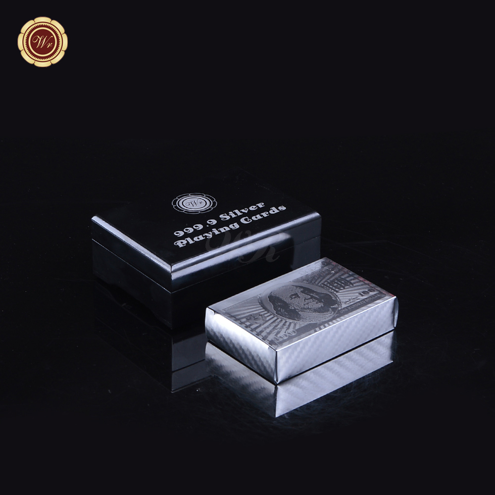 WR Birthday Party Decorations Quality Silver Casino Chip Cards American Usd 100 Poker Cards with Black Box for Family Fun