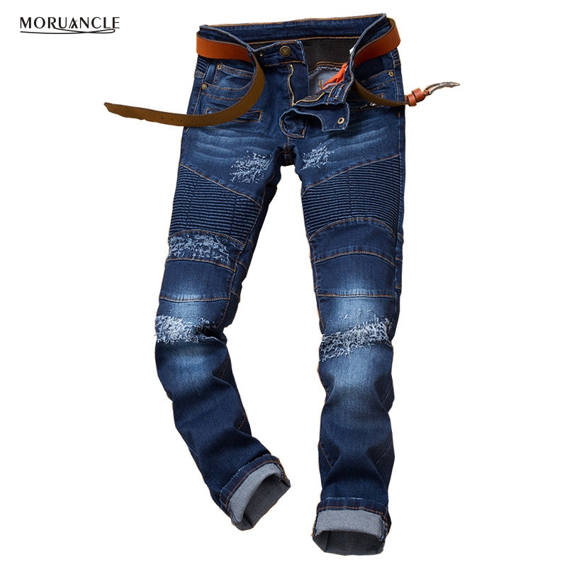 New Fashion Mens Ripped Biker Moto Denim Pants Brand Designer Distressed Jeans Joggers Slim Fit Moto Jeans Pants For Man Blue