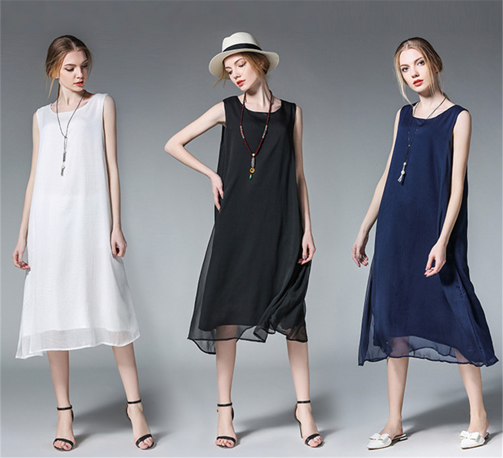 Fashion White Women Long Tank Dress 2017 New Summer Autumn Retro Sleeveless Chiffon Designs Casual Dresses Slim Plus size XXXXL 3