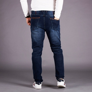 Image 4 - Elastische taille jeans männer plus dünger XL hohe taille elastische lose plus samt füße hosen herren hosen hosen winter