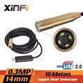 Xinfi высокое качество 10 м мини USB 2.0 водонепроницаемая эндоскопа инспекционной медная труба трубы головка камеры 14.5 мм с 4 из светодиодов