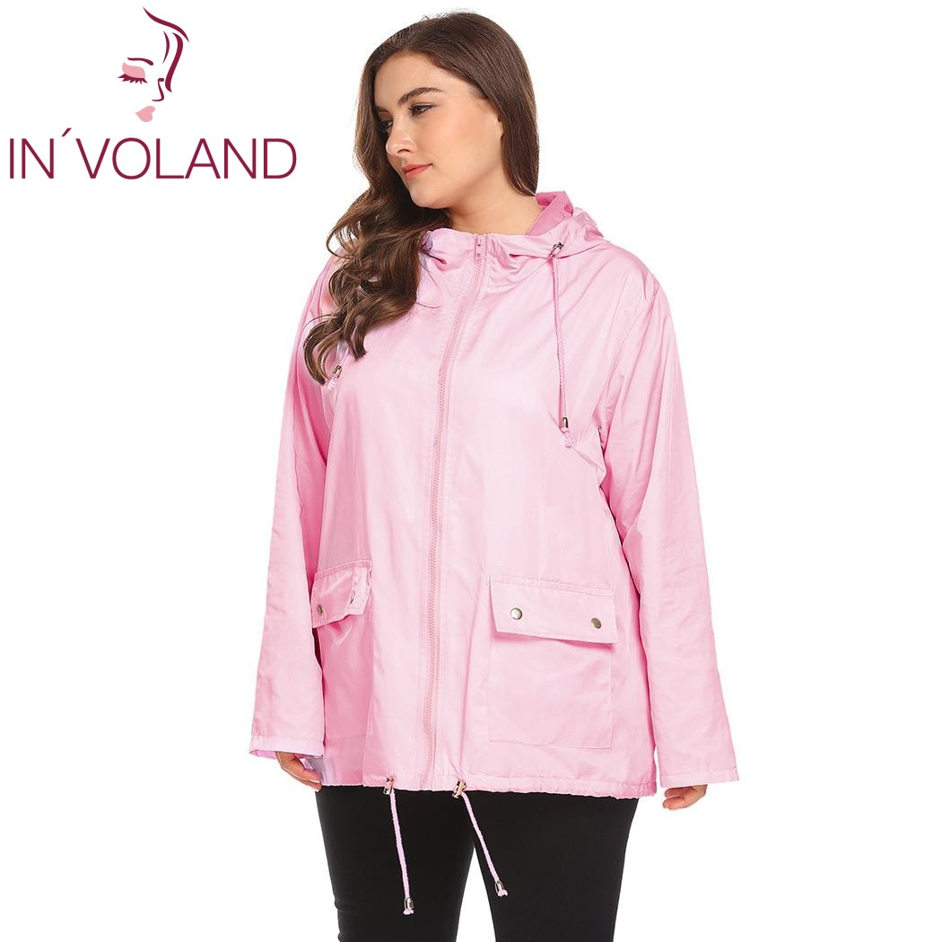 professional hot-selling authentic search for clearance US $21.12 42% OFF IN'VOLAND Plus Size XL 5XL Women Rain Jacket Coat Hooded  Casual Large Raincoat Drawstring Hem Solid Waterproof Jacket Big Size-in ...