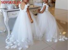 Милые белые платья для девочек с цветочным принтом ручной работы