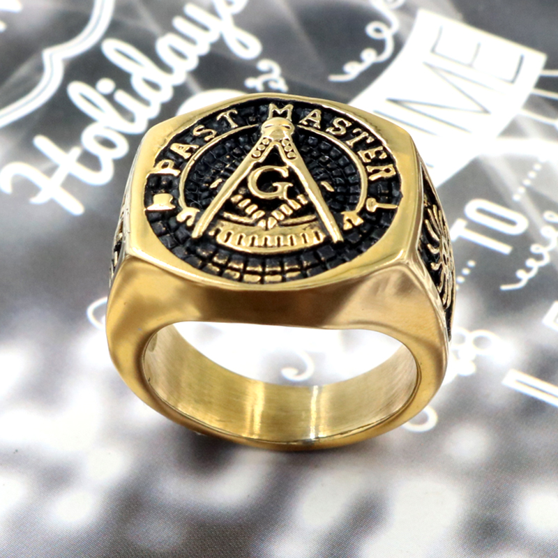 Vintage Past Master Masonic Signet Rings Gold Color Titanium Stainless Steel Freemason Free Mason Ring for Men Jewelry image