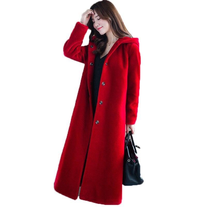 2018 red Femme Femmes Laine Black À blue Manteau Hiver Tops Capuchon Automne caramel Veste Zt1016 Vêtements Coréennes De Fourrure Véritable Vintage Bq8wvZUq