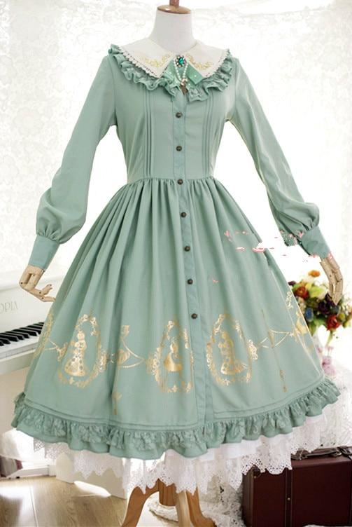Fraise sorcière sur mesure Alice au pays des merveilles série douce Lolita OP or glisse robe chemise à manches longues