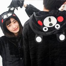 Cartoon Anime Japan Black Kumamon Onesies Halloween Cosplay Bear Pajamas Soft Winter Adult Women Men's Pijama SleepwearJumpsuit