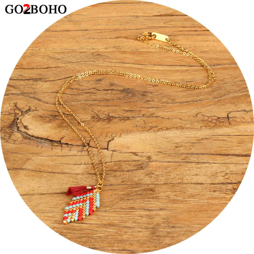 Go2boho Dropshipping New Gold Chain Necklace MIYUKI Boho Ethnic Necklaces Bohemia Style Jewelry Seed Beads Woven Women Her Gifts