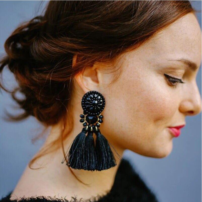 E0502 Bohemian Long Statement Tassel Drop Earrings