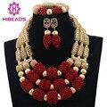 2017 Último Nuevo Rojo Coral Perlas Joyería Nupcial Conjunto Oro Declaración Collar de Perlas de Novia de la Boda Envío Gratis CNR621