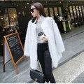 New Genuine Mink Suéter de Cashmere Mulheres Inverno Puro Cashmere Cardigan De Malha Casaco De Vison Casaco De Pele Longo Frete Grátis S125