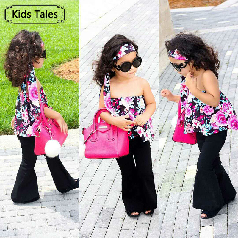 Flower Sets for girls in autumn 2018 Fashion  floral printed Tops + Long black pants 2pcs. sets children's clothes ST305 lole брюки ssl0009 lively pants 35 in xs black