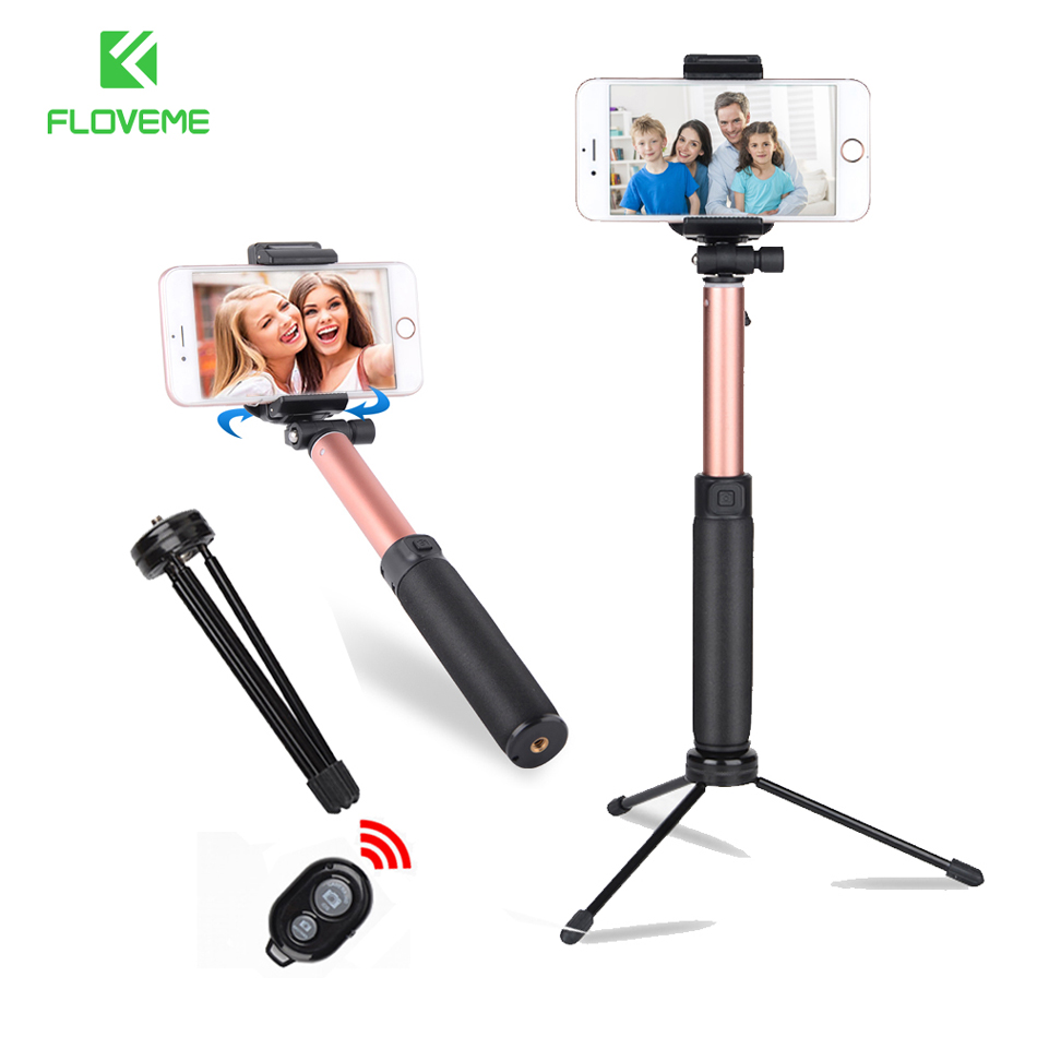 FLOVEME Tripod Selfie Stick For iPhone Xiaomi Universal Bluetooth Selfie Stick Mirror Mini Monopod Tripod Stick