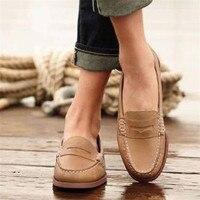 Женская обувь на плоской подошве без шнуровки; женские лоферы; Мягкие Мокасины; обувь из натуральной кожи; женская обувь на плоской подошве; ...