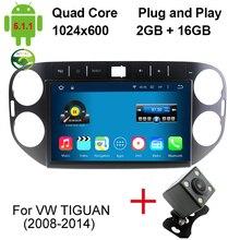2 ГБ/16 ГБ 10.1 Дюймов Авто ПК Для Volkswagen VW Tiguan 2011 2012 2013 2014 Dvd-плеер Автомобиля Quad Core Android 5.1.1 Автомобильный DVD плеер