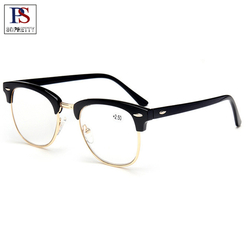 Plastic Titanium Frame Reading Glasses , Semi-Rimless Unisex Presbyopia Glasses,Half Frame Eyeglasses ( +1.0,+1.5,+2.0-+4.0)R101