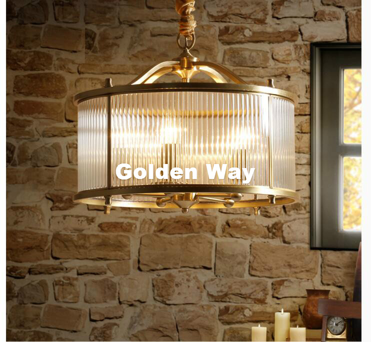 Nordic Bronze Color Restaurant Cafe Light Copper Pendant Lamps Bedroom Hanging Lamps Dining Room LED Glass Shade Pendant Lights