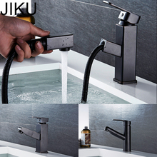 все цены на JIKU Black Retro PullType Hot And Cold Water Basin Faucet Single Handle Single Hole Kitchen Faucet Mixer Taps Basin Sink Faucet онлайн