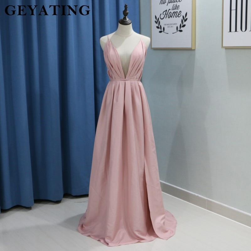 Sexy Spaghetti Straps Deep V-neck Blush Pink   Prom     Dresses   2018 Long Side Split Criss Cross Backless Summer Evening Formal   Dress