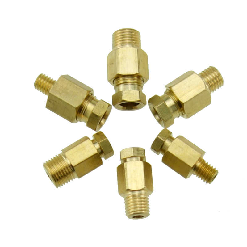 4 6 8mm OD Tube en laiton Compression Ferrule raccord de Compression mâle connecteur Machine-outil lubrification tuyau d'huile raccord