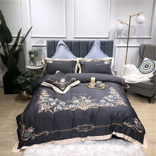 New Gray Blue Pink Green Luxury Flowers Embroidery Egyptian Cotton Bedding Set Duvet Cover Bed sheet Linen Pillowcases 4pcs