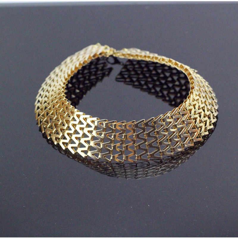 Modny styl złoty kolor warkocz choker łańcuszek naszyjnik szeroki 33cm moda damska ciało kołnierz naszyjnik biżuteria metalowa hurtownia x105