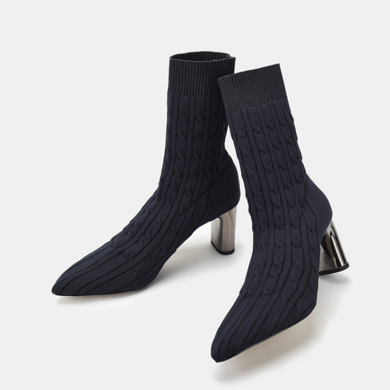 Knitted Elastic Socks Boots Medium chunky Heeled stretch Boots Women Point Toe Ankle martin Boots half toe mesh ankle socks