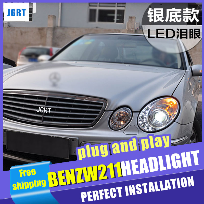Car Styling Headlight assembly 2003-2009 for Benz W211 DoubleU Angel Eye LED DRL Lens Double Beam H7 with hid kit 2 pcs. hireno headlamp for 2003 2009 toyota land cruiser prado headlight assembly led drl angel lens double beam hid xenon 2pcs
