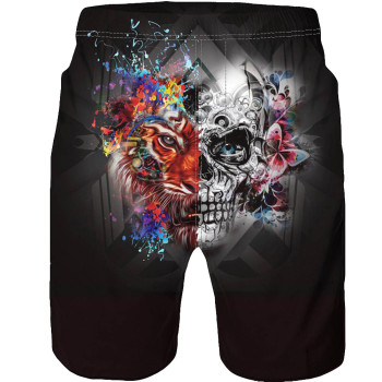 Men Casual 3D Skull Print Beach Casual Shorts