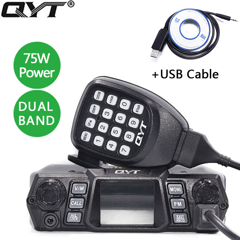 QYT KT 980Plus 75W Super Power Dual Band Mobile Radio 136 174MHz 400 480MHZ for Car