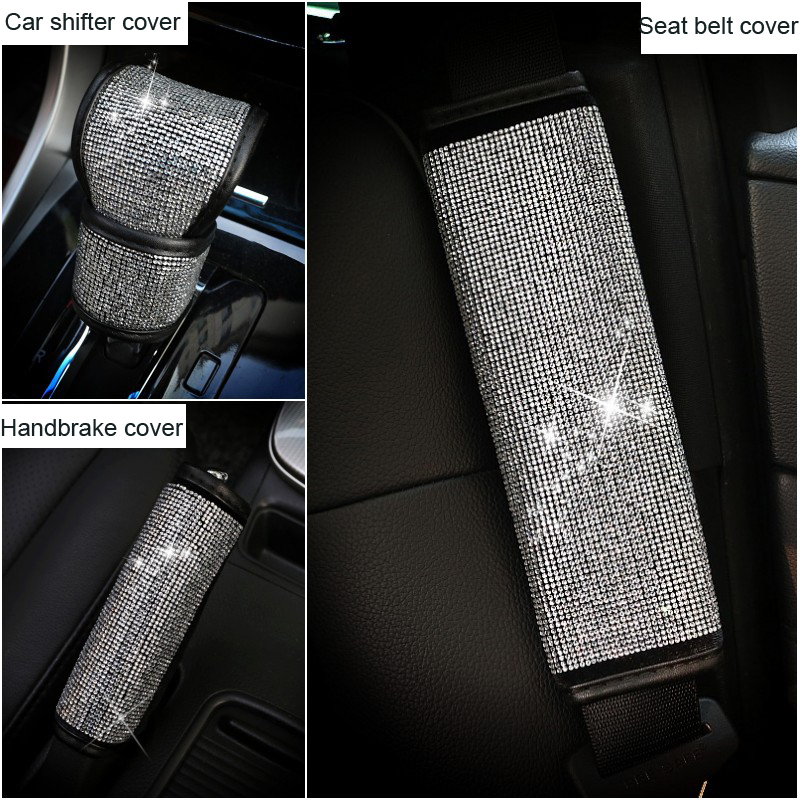 Full Crystal Rhinestone Car Seat Belt Protector Shifter Covers Hand Brake Grips Set Car Interior Accessories For Women Girls