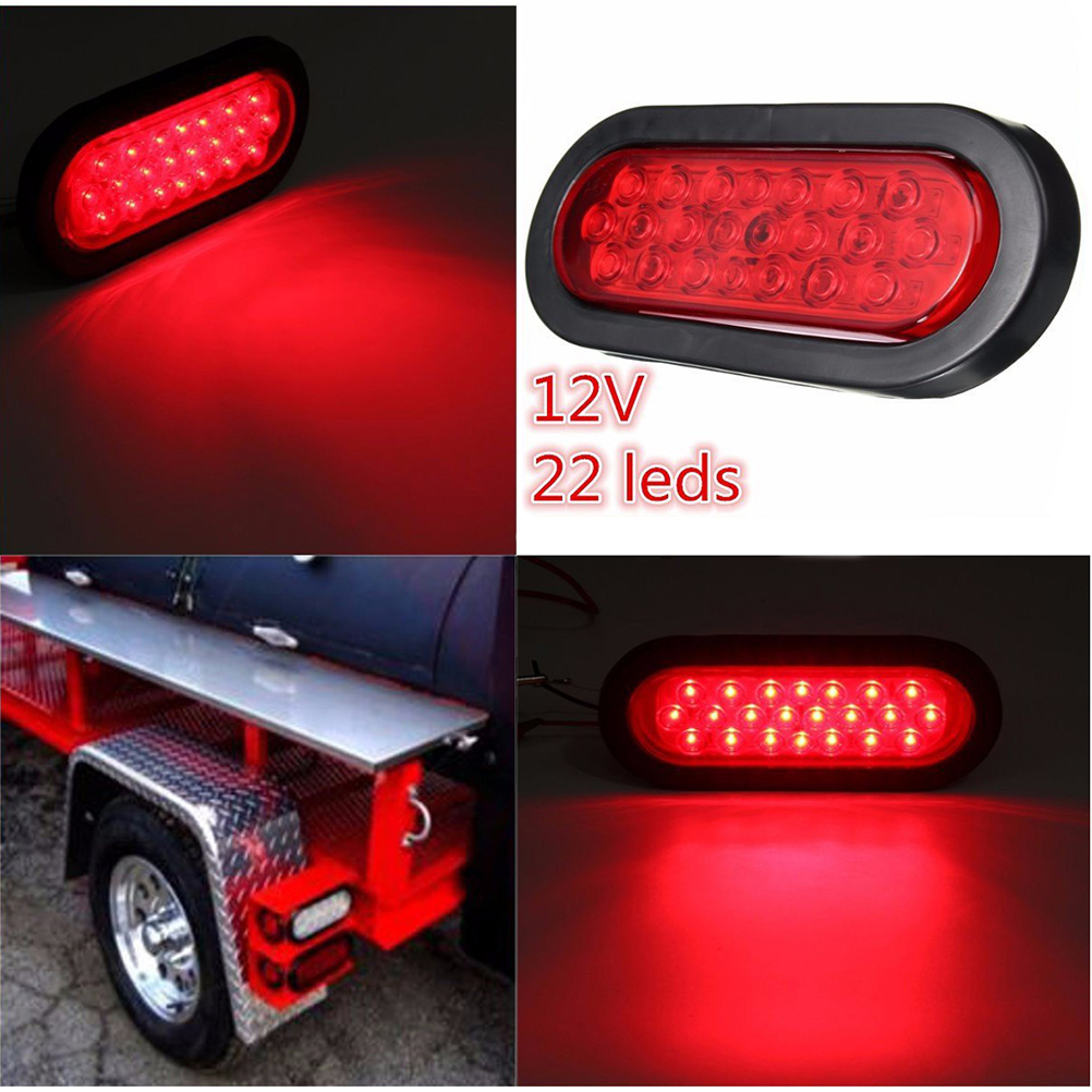 2pcs 12V 22-LED Oval Red Stop/Turn Signal/Brake/Marker/Tail LED Light Flush Mount for Truck Trailer Trail Bus (Red)