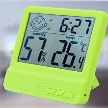 Face Digital LCD Thermometer Hygrometer Electronic Temperature Humidity Meter Weather Station Indoor Outdoor Tester Alarm Clock