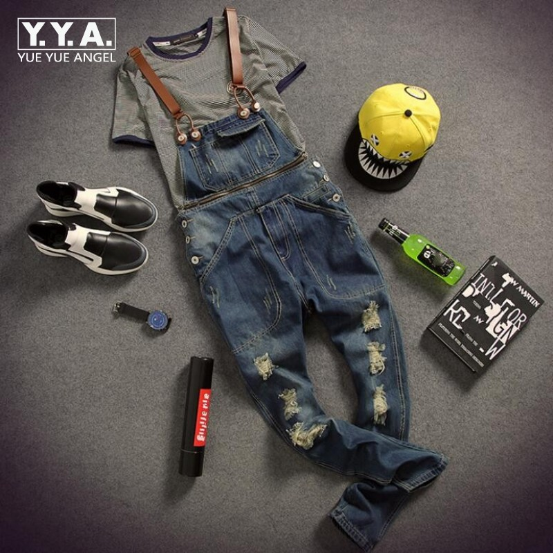 Mens Personality Zipper Cargo Overalls Hole Ripped Jeans Denim Trouser Pockets Boys Fitness Suspender Pencil Pants Free Shipping denim overalls male suspenders front pockets men s ripped jeans casual hole blue bib jeans boyfriend jeans jumpsuit or04
