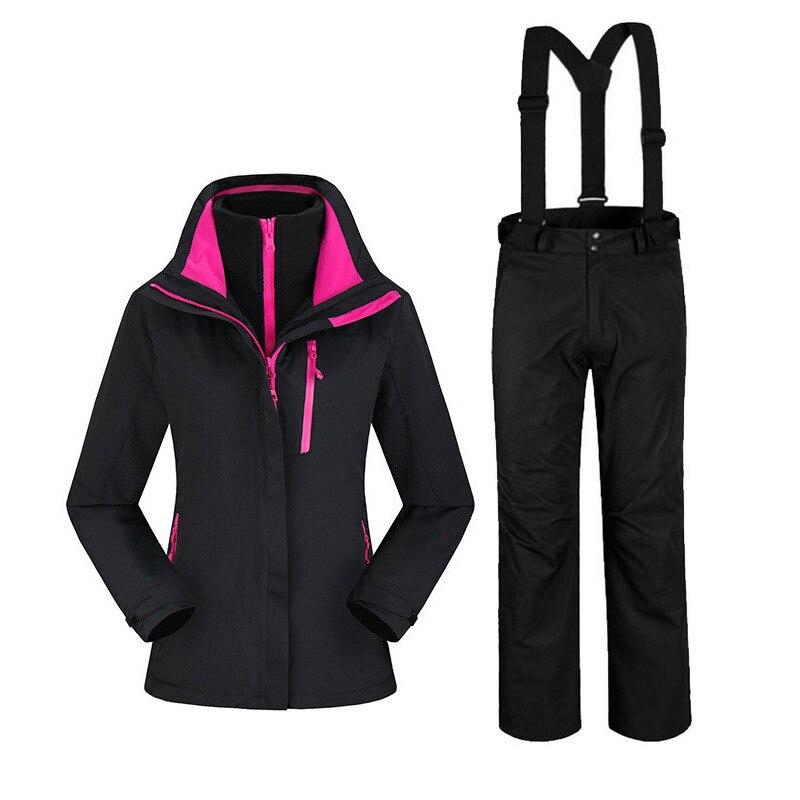 2017 hiver Ski de montagne costume extérieur thermique imperméable coupe-vent Snowboard vestes pantalon pour femmes Ski femme manteau