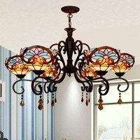 heart baroque dining room of Europe type glass droplight sitting room atmosphere long bar 6 + 1 crystal chandelier