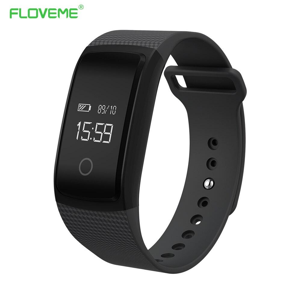 imágenes para FLOVEME Bluetooth 4.0 Pulsera Inteligente Reloj Para Android iOS Pulsera Reloj Para iPhone Samsung Xiaomi Heart Rate Monitor Tracker