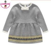 Campure Moda Outono Inverno Bebê Recém-nascido Meninas Camisola Vestido de Princesa Infantil Knit Gress Crianças Menina Camisa Vestido de Avental