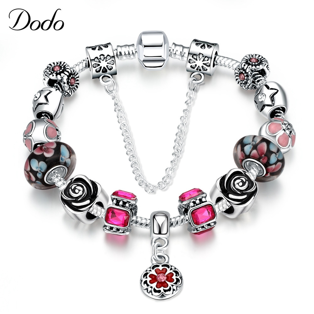 Queen Jewelry Silver Plated Charms Bracelet & Bangles With Rose Beads Bracelets for Women Colorful Armband Elegant AkcesoriaP19