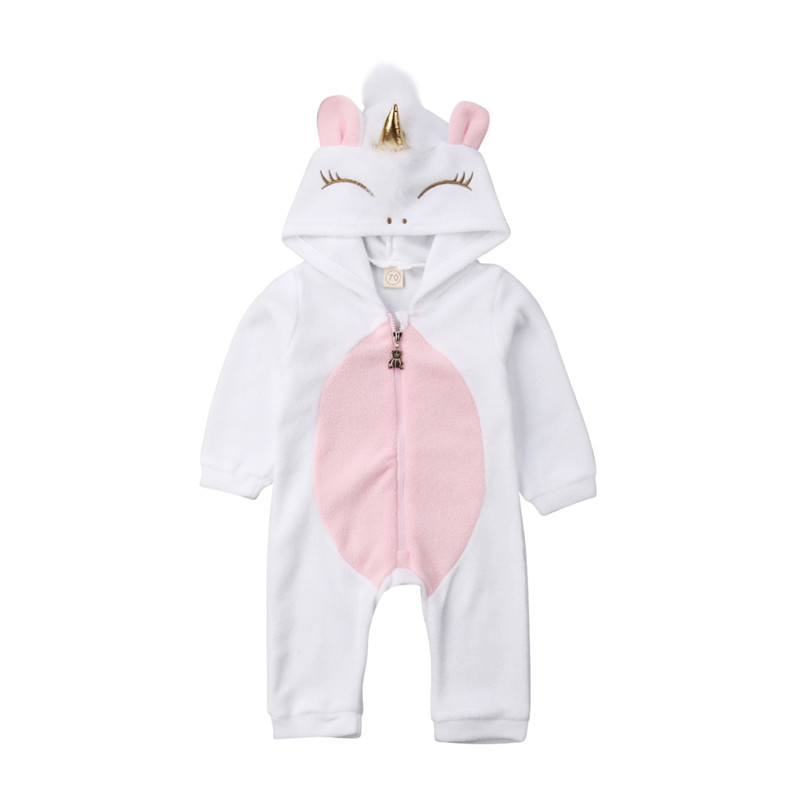 Kids Baby Boy Warm Infant Unicorn   Romper   Jumpsuit Hooded Clothes Sweater Outfit 0-24M