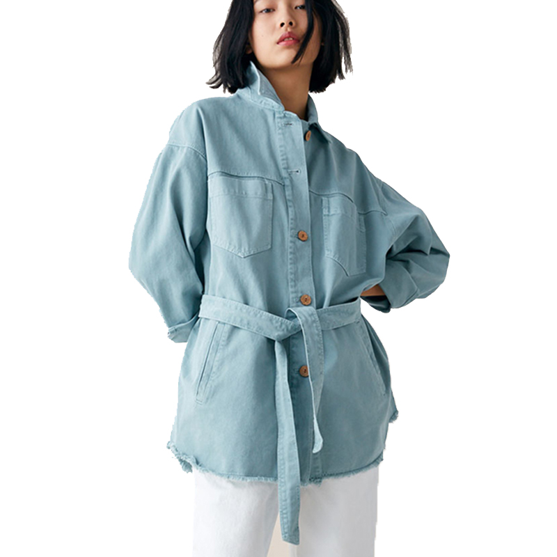 Women Long Denim Jacket With Belt Autumn New Women Basic Coat Winter Denim Jacket For Women